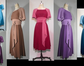 BI Tone A line Dress with Sleeves, Plus Size, Midi Dress, Women's Dress, 30s inspired jersey knit fabric with Separate Obi Belt