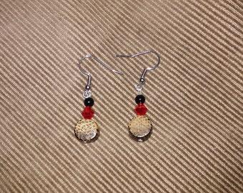 wooden animal print earrings