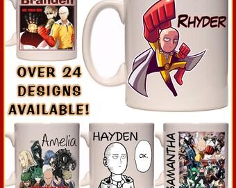 Personalised One Punch Man Mug - Ceramic Coffee Mug - With any Name or Message - Great Gift Idea - Saitama