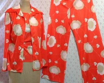 Fabulous vintage 1970's three piece orange floral poly pants suit/lounge wear/patio/funky