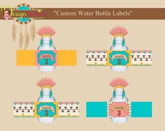 PERSONALIZED WATER BOTTLE Label,Tribal Water Bottle Labels,Pocahontas Water Bottle Labels, Indian Water Bottle Labels, Water Bottle Labels.