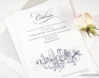 Kansas City Skyline Rehearsal Dinner Invitation Cards (set of 25 cards)