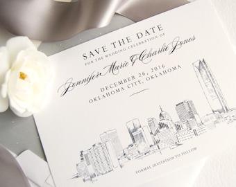Oklahoma City Skyline Save the Dates, Oklahoma Save the Date, Oklahoma Wedding, OK Save the Date Cards (set of 25 cards and white envelopes)