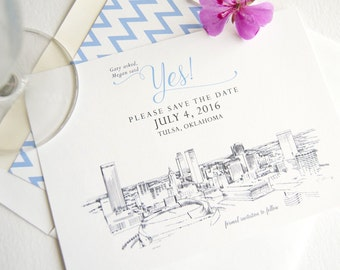 Tulsa Skyline Save the Date Cards (set of 25 cards and white envelopes)