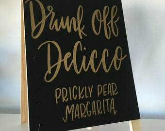 Signature Drink Wedding, Bachelorette, Bridal Shower Easel Sign - Bride, Parties, Bridal Shower, Wooden Signs