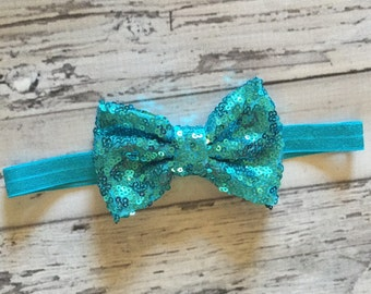 Aqua Sequin Bow Headband, Newborn Headbands, Aqua Blue Headband, Sequin Headbands, Photo Prop, Baby Headbands, Toddler Headbands, READY TO S