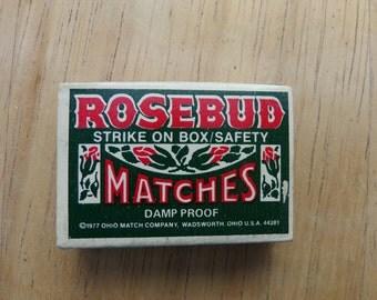 Vintage Matchbox, 1970's matchbox, Rosebud matchbox, 1970's prop