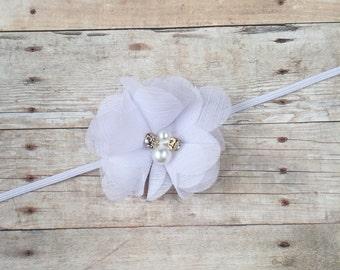 White Chiffon Flower Baby Headband