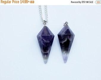 Amethyst Crystal Necklace, Amethyst Pendulum Necklace, Crystal Necklace, Crystal Pendulum, Crystal Choker, Amethyst Necklace, Pendulum