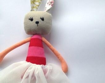 Ballerina bunny- handmade bunny- bunny doll with tutu - ballerina rabbit - PATTI