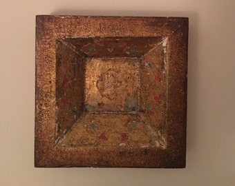 Vintage Wall Decor / Painted Wood / Gold and Turquoise Square / Art / Hostess Gift / New Home / Italian Squares
