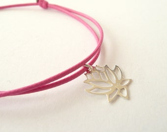 925 Silver Lotus Bracelet, Friendship Bracelet with Lotus, Tiny Lotus Bracelet, Sterling Silver or Gold Vermeil Bracelet, Dainty Bracelet