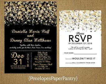 New Yearu0027s Eve Wedding Invitations,Black,Gold,White,Confetti,Splatter,