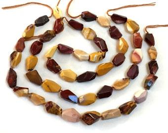 "Mookaite Jasper nugget beads large freeform faceted multicolor gemstones 16"" strand"