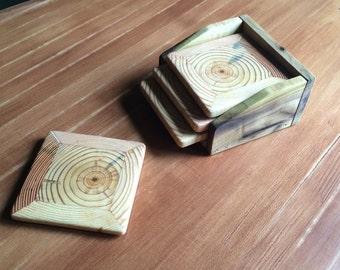 "Wood Drink Coasters ""Ripples"" - Set of 4"