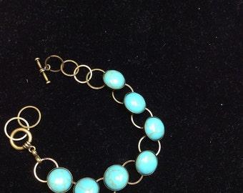 Turquoise Bracelet, Round Turqoise Bracelet, Boho, Tribal Bracelet