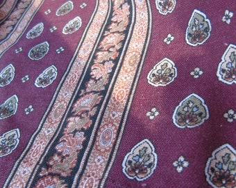 Traditional French vintage Provencal length of cotton fabric in burgundy, pink and black.  Stamped Mireille.
