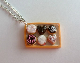 Miniature Food Jewelry Box of Donuts Necklace