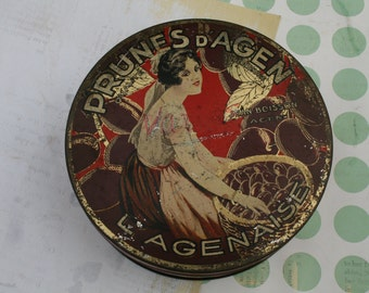 Delightful French 'Prunes d'Agen' Art Deco tin
