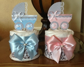 Baby gender reveal centerpieces set Twin baby shower centerpieces set of 2/Pink and Blue baby shower centerpieces/Carriage centerpieces/