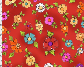 Loralie Happy Blooms Red Cotton Fabric BTY