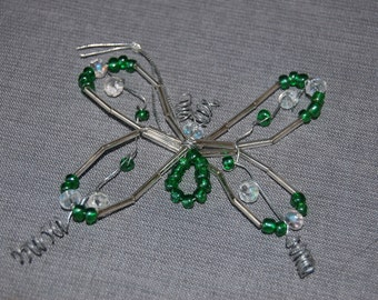 Butterfly beaded ornament ~ Kelly Green ~ set of 2