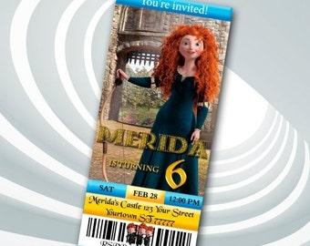 ON SALE 30% Merida Ticket Invitation - Brave Birthday Party Invitation - Brave Printable - Merida Invitation - Brave Invitation