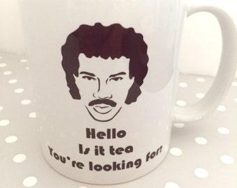 Hello, is it tea you're looking for? funny mug, lionel Richie joke mug