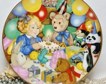 Franklin Collectors Plate 'Teddy Bear's Birthday' ~ The 1985 Carol Lawson Plate ~ Limited Edition ~ Little Girl With Teddies Birthday Party