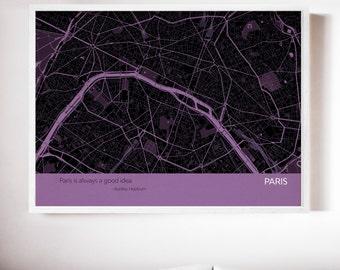 Personalised Paris City Street Map Print