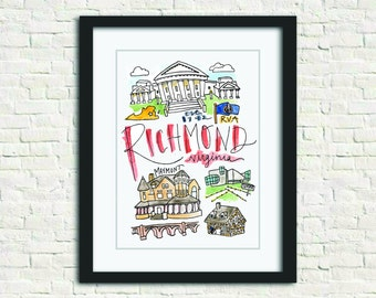 Richmond, Virginia Handlettered Watercolor Wall Art 8x10 in. Print