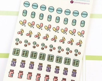 Set of 64 Transparent/Clear Medicine Icon Stickers