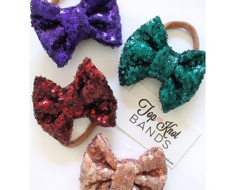 Mini Sparkle Nylon Headbands, Sparkle Bows, bow headbands, babies children toddlers adults