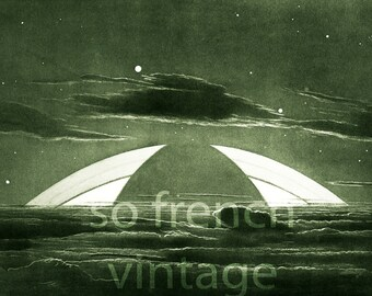 1937 Rings of Saturn, Saturn Landscape, Vintage astronomy print, SciArt, Science Wall Art