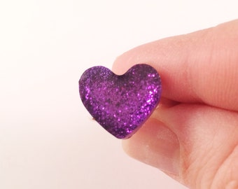 Purple Sparkly Heart Ring