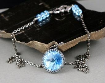 Swarovski 18mm Rivoli Aquamarine Crystal Gunmetal Bezel Gunmetal Chain Necklace