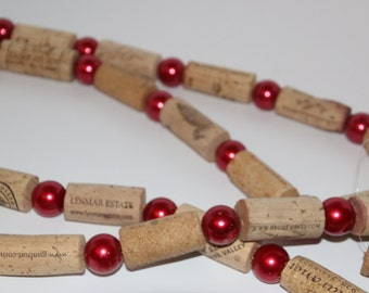 Wine Cork Garland Recycled Cork Weddings, Christmas, Wine Garland Pearl Red