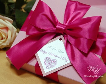 Elegant Pink gift box with tag, satin ribbon and big doubled bow - Custom personalized wedding favor boxes - Pink and Light Pink