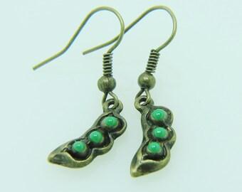 pea pod earrings pea pod jewelry pea pod charm earrings antique bronz earrings teen dollhouse miniatures jewelry women jewellery gift