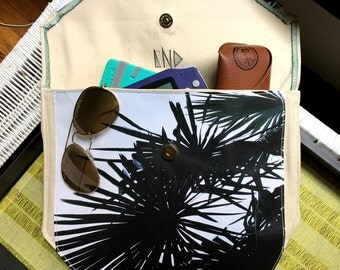 Handmade Dark Palm Clutch