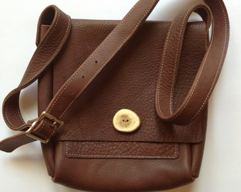 Small leather Messenger Bag, leather cross body bag, distressed leather cross body bag, brown leather bag