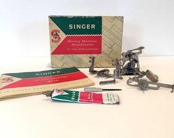 Singer Slant Needle 404 Kit 1958 Manual Ruffler Zipper Foot Slotted Binder Seam Guide Foot Hemmer Vintage Sewing Machine Attachments