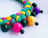 Bright big beaded braid necklace, handmade beaded jewelry, bridesmaid style, handmade stylish bead braid necklace, folk necklace