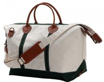 Green Monogrammed Weekender Bag-Canvas Weekender-Monogrammed Striped Weekender/Personalized Weekender Bag
