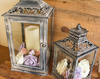 Rustic lantern table centrepiece large