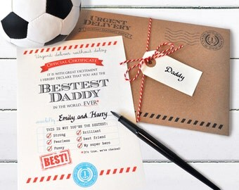 Daddy Birthday Card, Funny card for Daddy, Custom Father's Day Card, Card for Dad, Best Daddy Card, Daddy Certificate