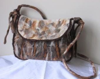 Nuno felted light brown handbag, shoulder bag