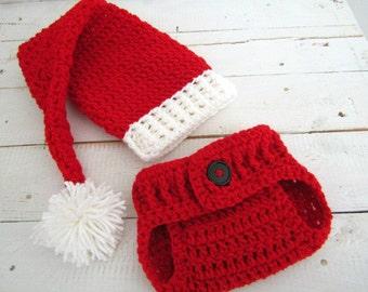 Baby Santa Hat, diaper cover set, Christmas Photo prop, newborn 0-3 Months, long tail, pom pom
