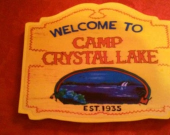 Handcrafted Camp Crystal Lake Sign