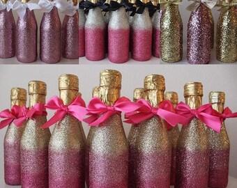 Mini Glittered Champagne Favors
